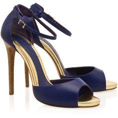 ELIE SAAB Peep Toe Ankle Strap Sandals ❤ liked on Polyvore