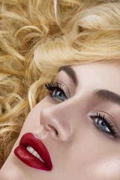 Glow + red lips + blue eyes