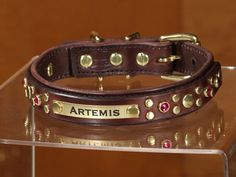 CALIFORNIA COLLAR CO - leather dog collars, leashes & accessories - ARTEMIS DELUXE - leather dog collar w/ nameplate
