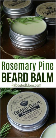 Learn how to make this simple and fragrant rosemary pine beard balm for the bearded man in your life or to give as gifts to family and friends! #beard #beardbalm #rosemary #pine #giftsforhim #essentialoils #DIY Homemade Beard Oil, Diy Beard Oil, Beard Oil And Balm, Beard Balm, Pine Essential Oil, Essential Oils, Homemade Beauty, Homemade Gifts, Products