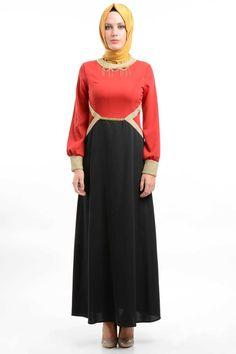 Nominal - Zincir Detaylı Kırmızı/Siyah Elbise