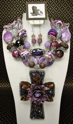 PURPLE STATEMENT Triple Strand Chunky Western Style Big Bold Cowgirl Necklace Set with Cross Pendant - RoDeO QUeeN RoYaLe