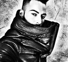 Julius high collar leather jacket