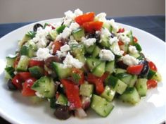 The contrast of sweet tomatoes, crisp cucumber and tangy feta gives this salad a bright, refreshing flavor. You can whip it up in one big bowl, but for family meals with picky eaters in attendance, we recommend you arrange it on the table salad-bar style, which allows each family member to create their own unique version of this Mediterranean classic. Olives and cucumbers only? No problem. Cheese...