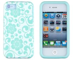 DandyCase 2in1 Hybrid High Impact Hard Sea Green Floral Pattern  Silicone Case Cover For Apple iPhone 4S  iPhone 4  DandyCase Screen Cleaner *** See this great product by click affiliate link Amazon.com