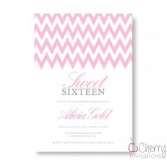 Pink Chevron Themed Single Sided Personalised Birthday Invitations - From as little as per card - Including free envelopes and delivery on all orders! Personalized Invitations, Envelopes, Birthday Invitations, Chevron, Delivery, Place Card Holders, Cards, Pink, Free