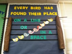 Bird themed music bulletin board - lines and spaces of treble clef - Music Classroom, Classroom Decor, Music Bulletin Boards, Treble Clef, Elementary Music, Room Themes, Music Education, Anchor Charts, Musical