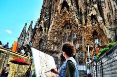 Painting La Sagrada Familia in Barcelona