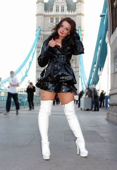 Thigh High Boots, High Heel Boots, Over The Knee Boots, Heeled Boots, White Boots, Sexy Boots, Imper Pvc, Vinyl Dress, Hot Outfits