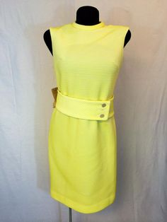 Vintage 1960s Belted Yellow Dress by InTheRoughFashion on Etsy