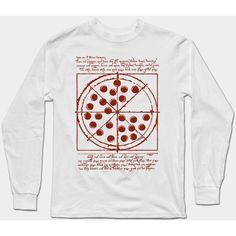 VITRUVIAN PIZZA Long Sleeve T-Shirt ($22) ❤ liked on Polyvore featuring tops, t-shirts, long sleeve t shirts, long sleeve tops, longsleeve tee, long sleeve tees and longsleeve t shirts