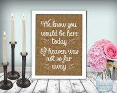 Burlap Wedding In Memory Of Sign Heaven Sign by justforkeeps