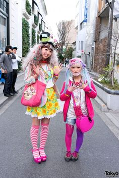 Kawaii Decora and Hadeko girls in Harajuku
