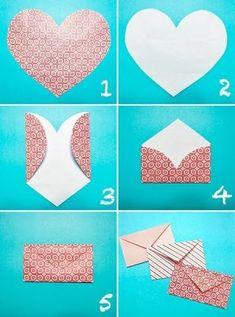 Simple way to make an envelope turkey craft, diy love, heart envelope, fold Diy Paper, Paper Crafts, Paper Art, Diy Love, Fun Diy, Easy Diy, Simple Diy, Super Simple, Heart Envelope