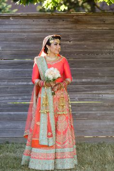 Coral is the new red.  #NoRed #CoralLehanga #Contrast #weddingLehenga #IndianBride #BridalLehenga