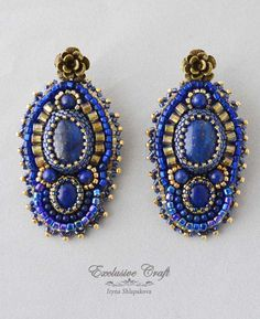 """Handcrafted blue gold bead embroidered earrings """"Arabian Nights"""" with Lapis Lazuli cabochons, Lapis Lazuli beads surrounded by blue and gold Japanese seed beads. Earrings have the flower antique bronz"""