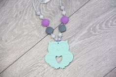 Silicone Teething Necklace with mint owl pendant от TeetherLand