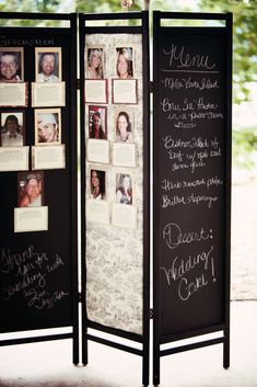 """This is cute- could write """"our story"""" on one side, maybe pictures and fun facts about the bridal party in the middle, and then wedding day info on the other side...could even take this home and have notes, calendar dates, shopping list, etc. LOVE THIS IDEA!"""