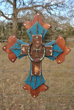 TurquoiseBrown Barbwire and Horseshoe Wall Cross by SparkleySpur, $65.00