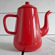 BRIGHT RED FRENCH ENAMEL COFFEE POT