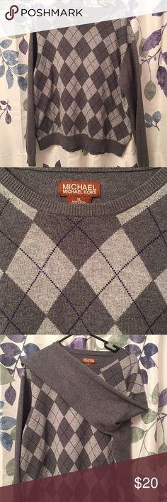 Michael Kors Mens argyle sweater Light and darker grays good condition. 100% cotton MICHAEL Michael Kors Sweaters Crewneck