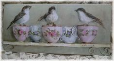 Ready to Hang Print - 3 Birds - 5 Tea Cups-POSTAGE included Australia wide
