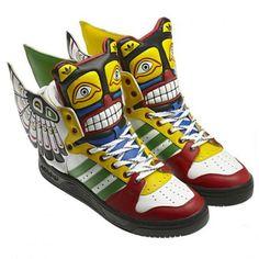 ADIDAS ORIGINALS BY JEREMY SCOTT JS TOTEM LEATHER RUNNING WHITE/POPPY/DARK SHALE #sneaker