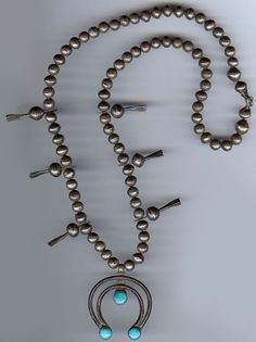 ANTIQUE NAVAJO INDIAN STERLING SILVER TURQUOISE SQUASH BLOSSOM NAJA NECKLACE