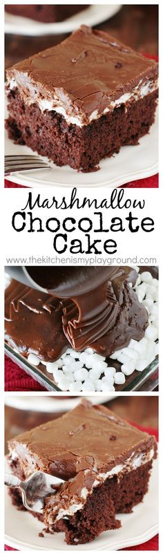 Marshmallow Chocolate Cake ~ Tender & tasty chocolate cake topped with a layer of gooey, melty marshmallow and rich chocolaty-fudgy icing. It's pure chocolate deliciousness! www.thekitchenismyplayground.com