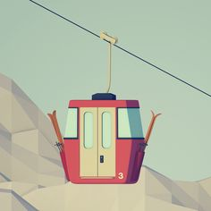 als Skizze ? Ski Lift Cable Car by Stephan Godzieba, via Behance Ski Vintage, Vintage Ski Posters, Vintage Cars, Vintage Travel, Ski Season, Ski Lift, Snow Skiing, Bergen, Ski And Snowboard
