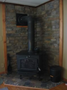 Stone Hearths for Wood Stoves | ... picture. I used slate on the floor and the stone matches very well