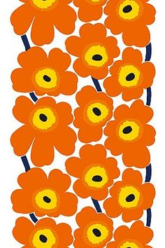 Marimekko: 50 years of flower power - - Marimekko celerbates 50 years of the Unikko poppy pattern with an exhibit and new products. Flower Pattern Design, Crochet Flower Patterns, Surface Pattern Design, Textile Patterns, Print Patterns, Floral Patterns, Poppy Pattern, Orange Pattern, Fleur Orange