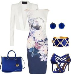 A fashion look from June 2015 featuring floral midi dress, cropped jacket and high heel stilettos. Browse and shop related looks. Dressy Outfits, Chic Outfits, Work Fashion, Fashion Looks, Fashion Design, Elegantes Outfit, Professional Outfits, Complete Outfits, Beautiful Outfits