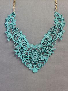 Aqua Lace Statement Necklace
