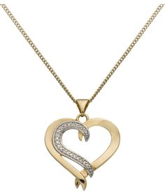 Buy Silver and Gold Plated Diamond Heart Pendant at Argos.co.uk - Your Online Shop for Ladies' necklaces.