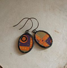 Abstract 1930s Paper Glass Earrings by ThatOldBlueHouse2 on Etsy