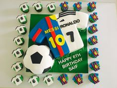 Soccer birthday cake- Messi vs Ronaldo birthday cake Ronaldo Birthday, Messi Birthday, Birthday Cake Kids Boys, Football Birthday Cake, Sports Theme Birthday, Happy 6th Birthday, 9th Birthday Parties, Birthday Ideas, Soccer Cake