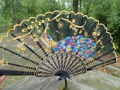 VTG ASIAN MOD Retro Chinese Classical Scent Fan BLACK LACE PEACOCK NOS NIB