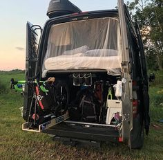 Sliding bike trays keep things tidy in @jon.robo's Sprinter garage. How do you carry your toys? ••••••••••••••••••••••••  Show off your Sprinter van! Tag your pics #sprintercampervans to be featured! ••••••••••••••••••••••••