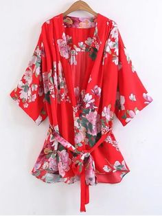 Shop for Long Belted Flower Kimono Blouse FLORAL: Blouses L at ZAFUL. Only $24.49 and free shipping!