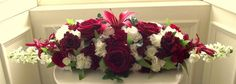 #Wedding reception #bridal #table #flowers top table red