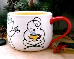 Super Large Soup Bowl Mug  29 oz HandMade Painted by LoveArtWorks, $52.00