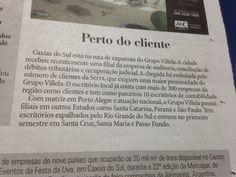 Publicação do cliente Grupo Villela no jornal Pioneiro de Caxias do Sul. #branding