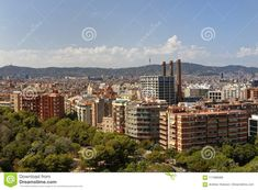 Aerial View Of Barcelona, Catalunya, Spain Editorial Stock Image - Image of deserted, district: 117086089