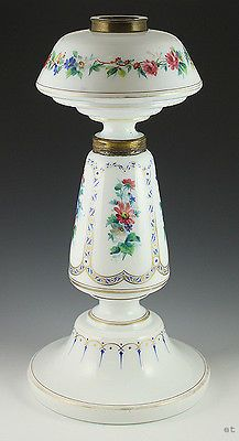 LARGE FRENCH HAND PAINTED FLORAL GLASS OIL LAMP c1850s http://www.morninggloryantiquescollect.com/