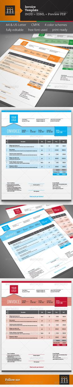 Invoice Excel Business, Texts and A professional - indesign invoice template
