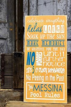 Swimming Pool Rules Outdoor Pool Sign by MadiKayDesigns on Etsy