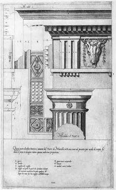 Jacopo Barozzi da Vignola (1507-1573), 'Regola delli Cinque Ordini d'Architettura', Rome 1562; Plate XIII: Denticulated Doric Order, Capital and Entablature.