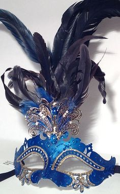New Venetian Masquerade Mardi Gras Party Mask Romance with Feathers Blue #halloween #mask www.loveitsomuch.com