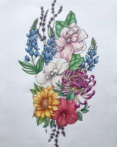 Large floral piece for a client from a few weeks ago.  . . . . . . . #flower #flower #magnolia #sunflower #bluebells #chrysanthemum #mum #bloom #blossom #tattoo #prisma #prismacolor #coloredpencil #ink #line #sketch #sketchbook #art
